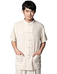 JTC Hommes Kung-fu Rétro Vêtement Chinois Veste Manches Courtes Beige