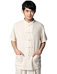 JTC Mens Cotton Linen Top Kung Fu Jacket Chinese Shirt Coat