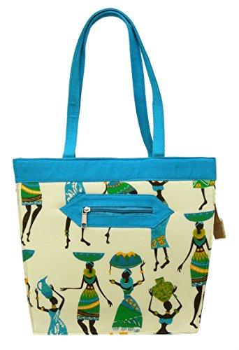 """Frauen Tote Geldbeutel Tribal Printed Damen Baumwolle Jute Handtasche Strand Favor Umhängetasche 14.5"""" x 12.5"""" Zoll Beige und Blau"""