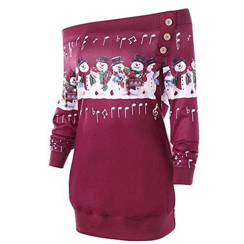 Subfamily-P & S & O Weihnachtsbluse für Damen,Frauen Mädchen Casual Baumwolle Druck 'Santas' Bluse Mode Tops Pullover Frühling, Herbst Heißer Heißer Schwarz Weihnachten Hut Sweatshirt