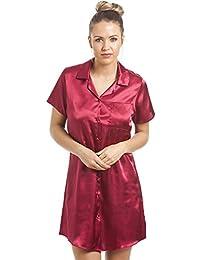 Camille - Chemise de nuit pour femme - longueur genoux - satin - rouge
