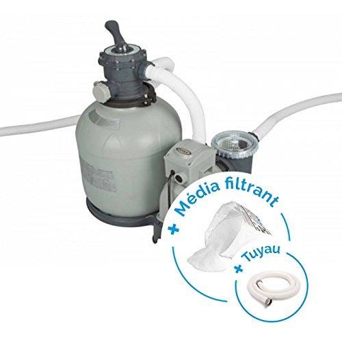 RAVIDAY Pack Filtre à Sable 10 m³/h - 1 CV + Tuyau + Media filtrant