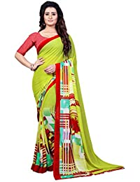 Kashvi Sarees Faux Georgette Printed Green Color With Blouse Piece ( 1348 )