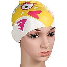 Gorro de natación, HiCool silicona impermeable de alta calidad de orejeras, gorro de natación para niños (amarillo)