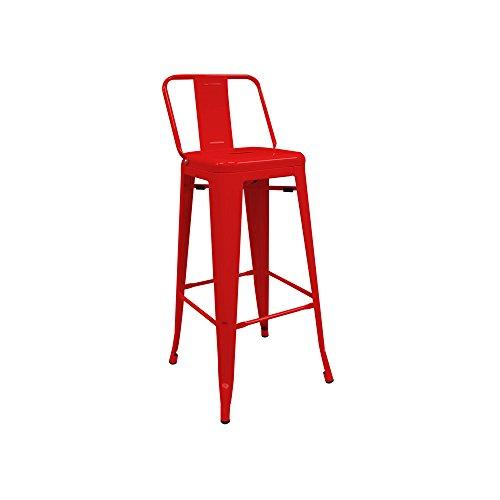 regalosMiguel - Taburete Industrial Torix Rojo con Respaldo (Inspirado en la Línea Tolix)
