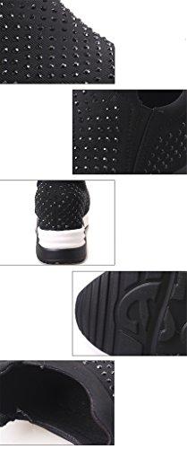 NEWZCERS Mode féminine de marche casual sport chaussures chaussures avec strass Noir