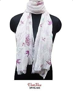 """sari blanc écharpe Dupatta femmes indiennes utilisées enveloppent hijab volé écharpes voile imprimé oiseau rideau drapé 70 """"x 26"""" recyclé viscose de tissu conçu sari matériel robe d'été décor à la maison"""