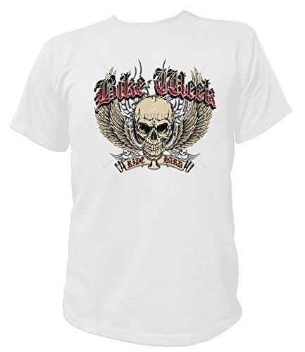 Artdiktat Herren T-Shirt - BIKE WEEK - WINGED SKULL - RIDE HARD Größe XXXL, weiß -