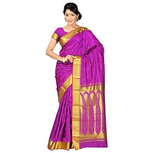 Varkala Silk Sarees Women's Art Silk Kanchipuram Saree With Blouse Piece(JP8103PV_Purple_Free Size)