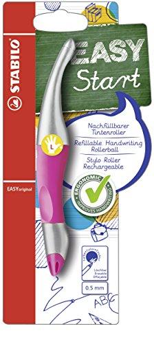Ergonomischer Tintenroller für Linkshänder - STABILO EASYoriginal metallic in neonpink - Schreibfarbe blau (löschbar) - inklusive Patrone