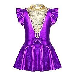 FEESHOW Kinder Mädchen Cosplay Kostüm Glitzernder Gymnastikanzug Flatterärmel Trikot Body für Halloween Tanz Violett MIt Rock 134-140/9-10 Jahre