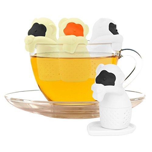 Nuovoware Infusor de Té, 4 PACK Té de silicona de grado alimenticio Tostador de infusión de especia de hierbas Filtro de inclinación de té suelto con bandejas de goteo - Monos lindos
