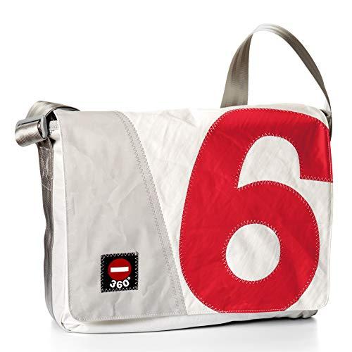 360° Barkasse Segeltuchtasche, Recycling Laptoptasche bis 15\'\' Zoll, Umhängetasche weiß, Zahl rot, Messengerbag