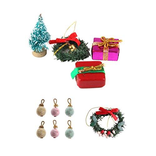 perfeclan 1 Set 112 Ornamenti Natalizi per Case delle Bambole Palle Dellalbero di Natale Regali Decorazioni Natalizie