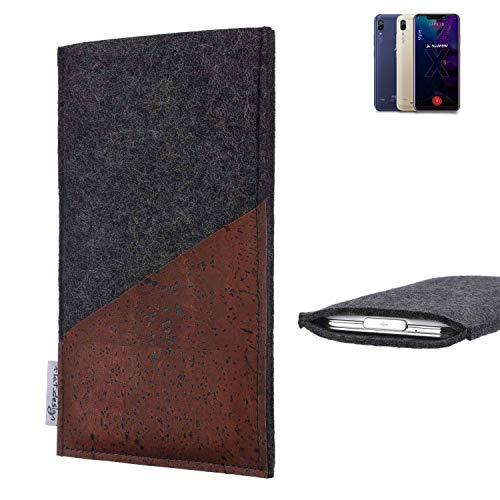 flat.design Handy Hülle Evora für Allview Soul X5 Style handgefertigte Handytasche Kork Filz Tasche Case fair dunkelgrau