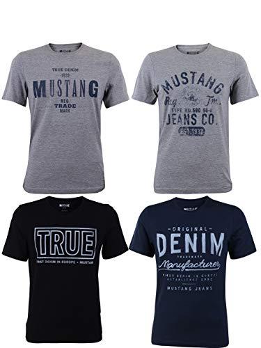 MUSTANG 4er Pack Herren T-Shirt mit Frontprint und Rundhalsausschnitt - Motivmix, Größe:L, Farbe:Farbmix (P14)