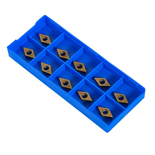 10er Diamant Form CNC Hartmetall-Einsatzschneider Wendeschneid Drehmaschine Fräseinsätze Drehen Werkzeuge mit Box DCMT070204-HM YBC251 für Semisteel