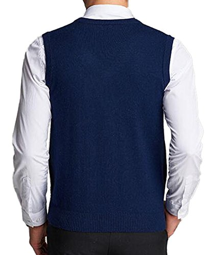 DD.UP Herren V-Ausschnitt Slim Fit Argyle Muster Pullunder Wollweste Strickweste Weste Navy Blue