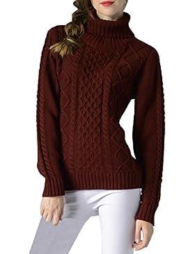 ELLAZHU Moda Mujer Turndown Clooar mangas largas costillas Top Suéter YY54 Rojo S
