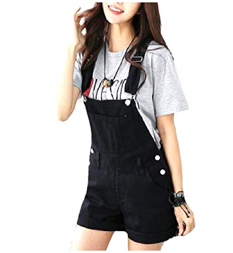 EnergyWomen Soft Comfort Strappy Adjustable Jeans Shorts Lounge Bib Overalls Pants Black XS