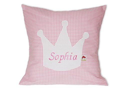 Glückspilz Namenskissen Babykissen I Krone I mit Namen personalisiert I Geschenk zu Geburt, Taufe oder Geburtstag I verschiedene Farben und Formen (Rosa, 35 x 35) -