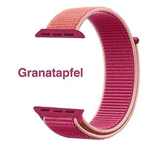 Nylon Armband für Apple Watch in Granatapfel 42/44mm passend für Apple Watch 1 2 3 4 5