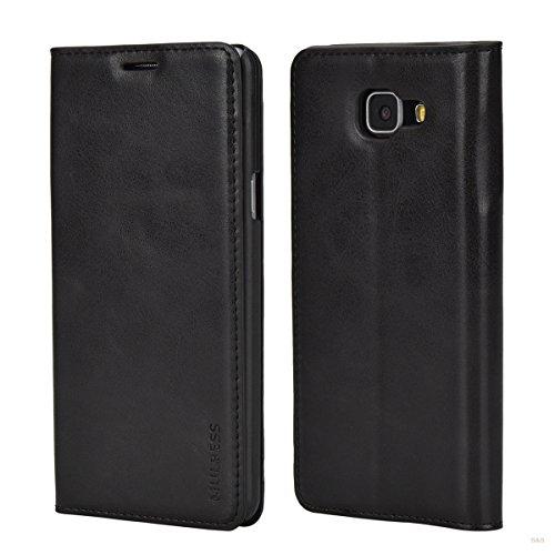 Mulbess (Slim Style) Premium Handy Schutzhülle Ledertasche im Kartenfach für Samsung Galaxy A5 (2016) Tasche Hülle Leder Etui Schale,Schwarz