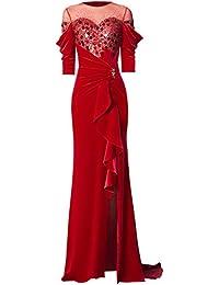 e048fd636a36 BINGQZ Sottile Vestito Abito da Sera Grazie Abito da Sposa Abito Rosso  Primavera Nuovo Abito da