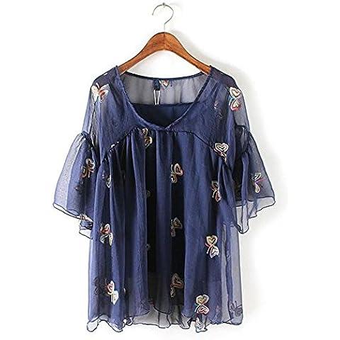 Manica corta con scollo a v donna t-shirt farfalla ricamo + gilet in due pezzi . picture color . m