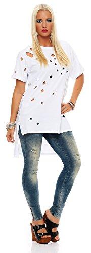 Damen Somme Longshirt, Longbluse Oversizelook, Top in Vintage Style Weiß