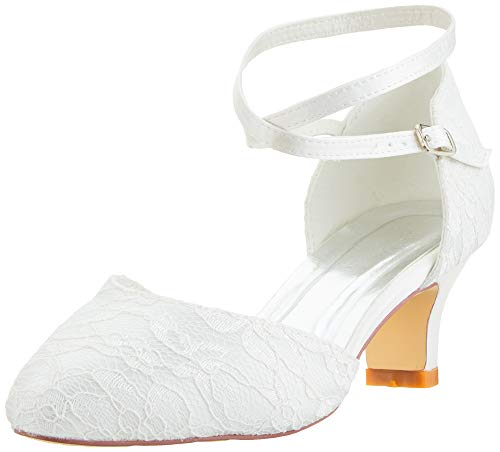 Mrs White Damen Brautschuhe 00967A Geschlossene Zehen Chunky Heel Spitze Satin Pumps Hochzeitsschuhe, Elfenbein, 39 EU