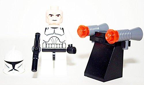 (LEGO Star Wars Minifigur - Clone Wars - Clone Trooper mit Pistole - Waffenhalter - 2 zusätzliche Blaster)