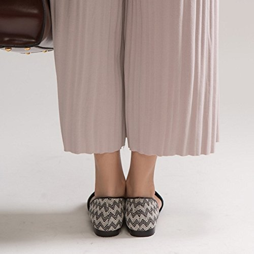 COOLCEPT Femme Mode A Enfiler Sandales Plat Peep Toe Chaussures Taille Noir