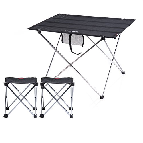 QIANGDA Camping Pliante Table Chaise Ensemble De 3 Pièces Flexible Et Pratique Stable Et Durable Alliage D'aluminium Portable, M/L Optionnel (Couleur : Noir, Taille : M)