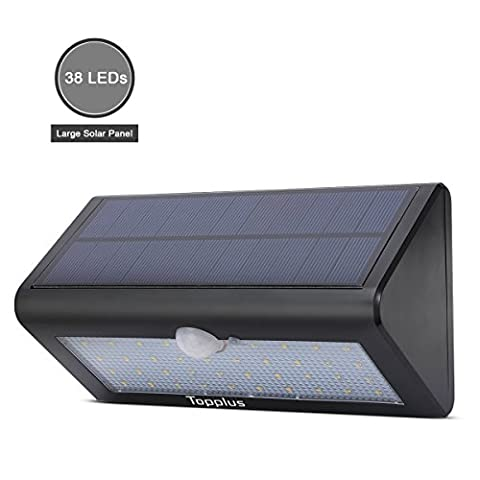 [Big 38 LED] Topplus Large Size 38 LED Bright Outdoor Solar Light, Built-in 4400mAh Battery, Solar Powered Light Wireless Waterproof Motion Sensor Wall Light for Garden Decor Path Lighting,