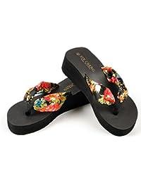 BBestseller flips-flopes,sandalias de abiertos Bohemia floral Sandalias de cuña zapatillas ojotas plataforma tangas zapatillas de casa cómodos sandalias salvajes de la manera ligera(negro)
