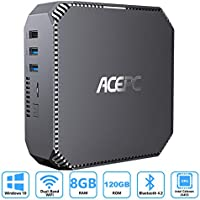 ACEPC AK2 Mini PC Windows 10, 8GB RAM/ 120GB ROM, Intel Celeron J3455 Processor 4K HD Micro Computer with Gigabit Ethernet, Dual Band Wi-Fi, Bluetooth 4.2, Dual HDMI Output