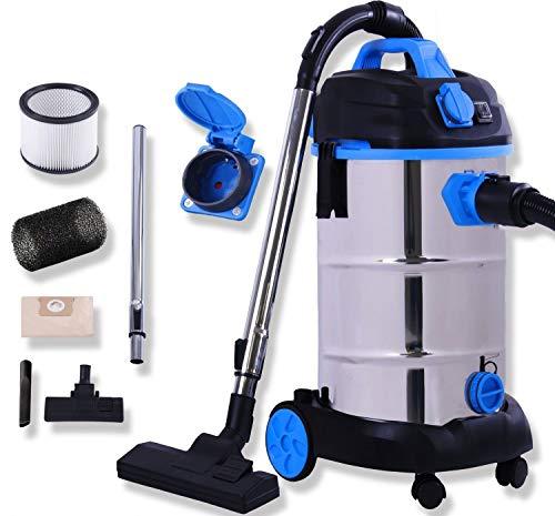 Masko® Industriestaubsauger - blau, 1800Watt ✓ Mit Steckdose ✓ Blasfunktion ✓ | Mehrzwecksauger Trocken-Saugen & Nass-Saugen | Industrie-Sauger mit & ohne Beutel | Wasser-Staubsauger beutellos