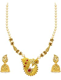 The Luxor Peacock Gold Plated Jewellery American Diamond Pearl Long Haram Mala Necklace Set For Women And Girls