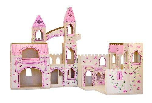 Melissa & Doug Folding Princess Castle Wooden Doll's House With Drawbridge and Turrets