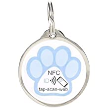 pettouchid Smart PET ID Tag, Azul Paw, QR Code, NFC, GPS habilitado