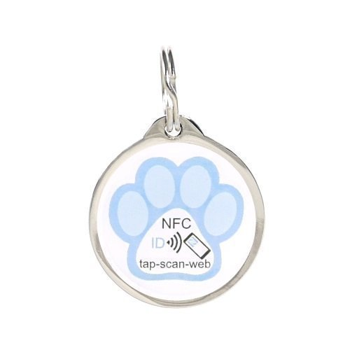 pettouchid Smart PET ID Tag, Azul Paw, QR Code, NFC, GPS habilitado