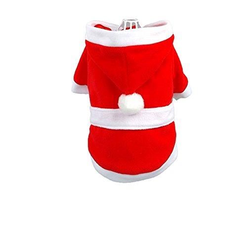Weihnachten Santa Anzug Dog Santa Outfit Mantel mit Kapuze Jacke Extra Klein für kleine Hunde, Größe M