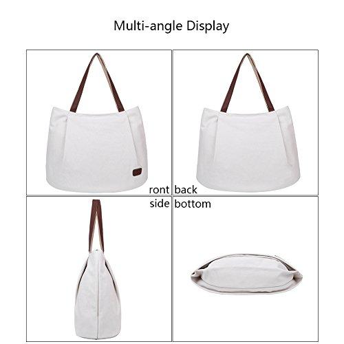 EGOGO Donna Borse a mano Tela Borse a Spalla Tote Sacchetto di Shopping Bag E523-5 (Riso bianco) Riso bianco