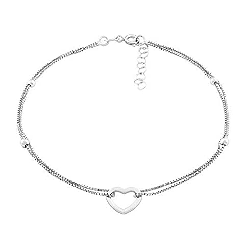 Sterling Silver 9 + 1 Extension Double Strand Heart and Beads Anklet by Beaux Bijoux
