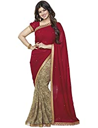 Sarees (Women's Clothing Saree For Women Latest Design Wear Sarees New Collection In Red Brown Georgette Latest...