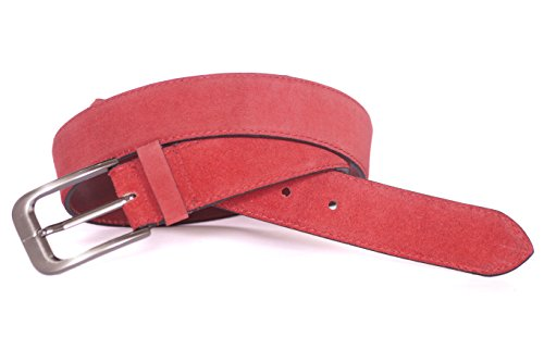 Anik International Designer Select Men's Premium Quality Pale Red Suede Genuine Leather Belt with imported brush finish buckle