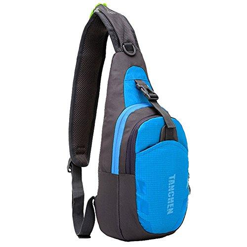 Tanchen Sling borsa impermeabile sport petto in palestra marsupio zaino a spalla tracolla, borsa a tracolla, Uomo unisex, Black Blue