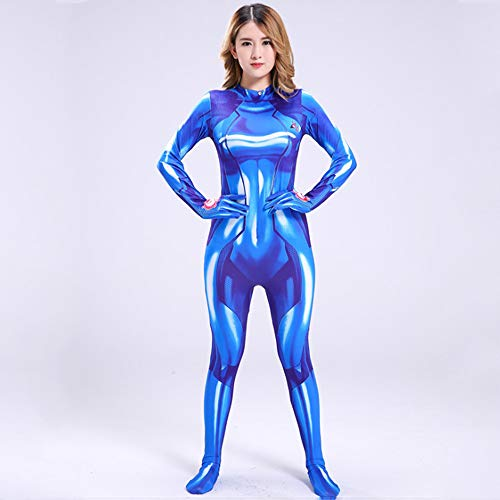 POIUYT Frauen Halloween Superhelden Strumpfhosen Cos Performance Kostüm Cosplay Erwachsene Kostüm Ball Parallel Universum Strumpfhosen Overall,Blue-S (Halloween Birthday Party-jahr Alt)