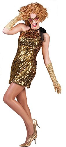 Disco Gold Kleid (Showgirl Kostüm Celia Gold - Pailletten Kleid für Damen - Gr. 36)